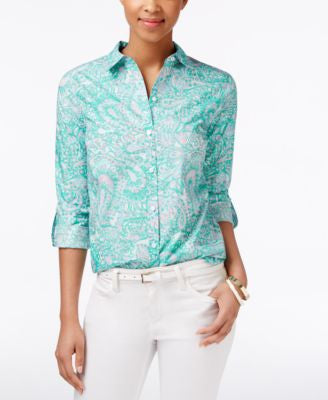 Charter Club Petite Paisley-Print Shirt, Only at Vogily