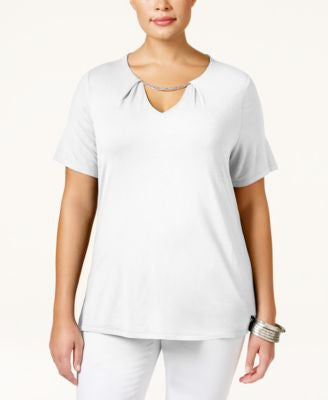 INC International Concepts Plus Size Keyhole Chain-Neck Top, Only at Vogily