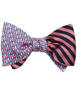 Brooks Brothers Men's Lady Bug and Stripe Reversible To-Tie Bow Tie