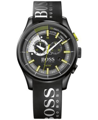 BOSS Hugo Boss Men's Yachting Timer II Chronograph Black Silicone Strap Watch 45mm 1513337