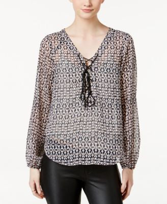 Jessica Simpson Morgan Sheer Printed Lace-Up Top