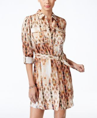 Jessica Simpson Emerson Printed Roll-Sleeve Shirtdress