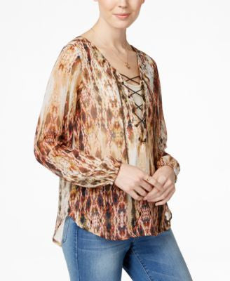Jessica Simpson Morgan Printed Lace-Up High-Low Peasant Top