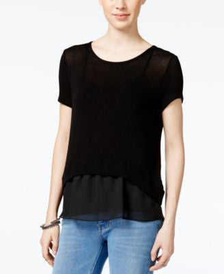Bar III Short-Sleeve Contrast Top, Only at Vogily