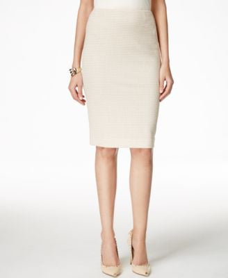 Kasper Knit Jacquard Pencil Skirt