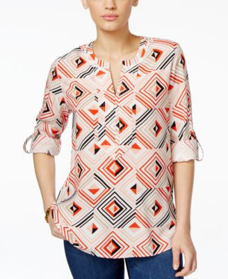 Tommy Hilfiger Nikki Printed Split-Neck Blouse
