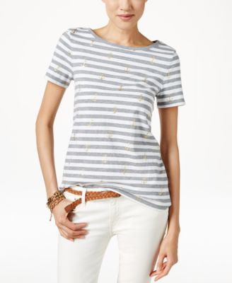 Tommy Hilfiger Striped Anchor-Print T-Shirt