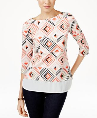Tommy Hilfiger Diamond-Print Woven-Trim Top