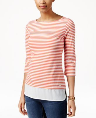 Tommy Hilfiger Striped Woven-Trim Top