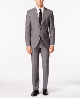 HUGO by Hugo Boss Men's Medium Grey Mini Grid Extra Slim-Fit Suit