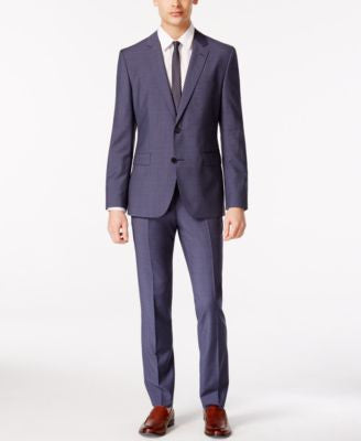 HUGO by Hugo Boss Men's Medium Blue Mini Grid Extra Slim-Fit Suit