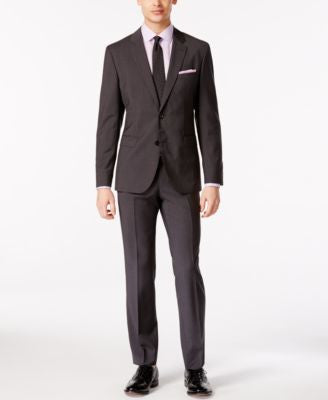 HUGO by Hugo Boss Men's Charcoal Micro Pattern Extra Slim Fit Suit