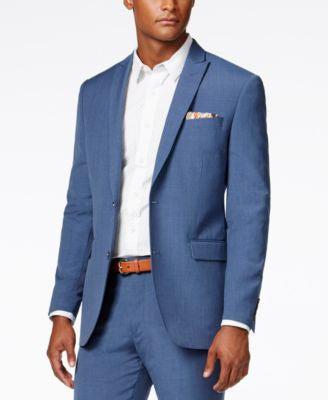 Bar III Men's Dusty Blue Solid Slim-Fit Jacket, Only at Vogily