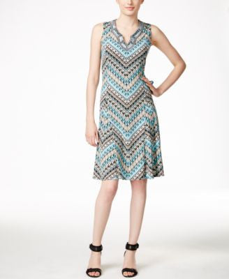 JM Collection Chevron-Print A-Line Dress, Only at Vogily
