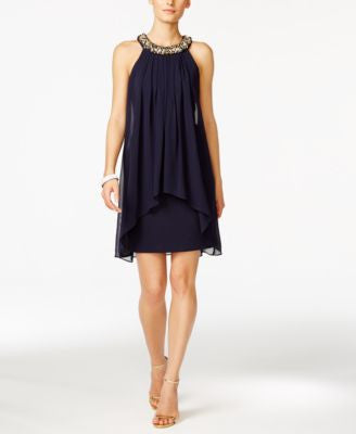 Vince Camuto Bead-Trim Chiffon Popover Sheath Dress