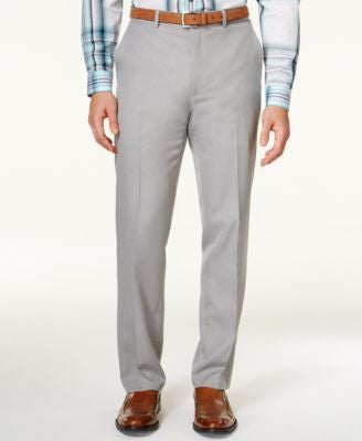 Alfani Men's Big & Tall Light Gray Slim Flat-Front Dress Pants, Only at Vogily