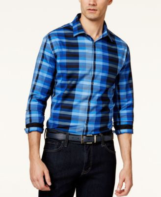 Alfani Men's Blocked-Plaid Long-Sleeve Shirt, Only at Vogily