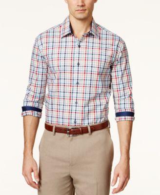 Tasso Elba Men's Fancy Multi-Checked Long-Sleeve Shirt, Only at Vogily