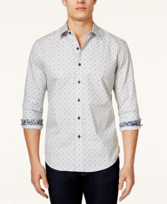 Tasso Elba Men's Big & Tall Malta Dot-Print Long-Sleeve Shirt, Only at Vogily