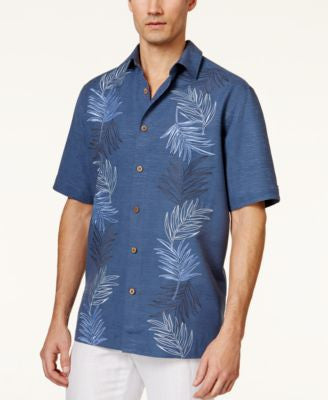 Tasso Elba Men's Silk Tropical Embroidered Short-Sleeve Shirt