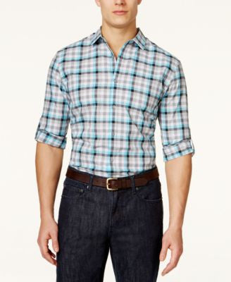 Alfani Men's Checked Long-Sleeve Shirt, Only at Vogily
