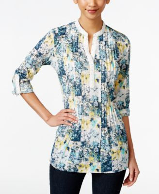 Style & Co. Petite Y-Neck Floral-Print Top, Only at Vogily