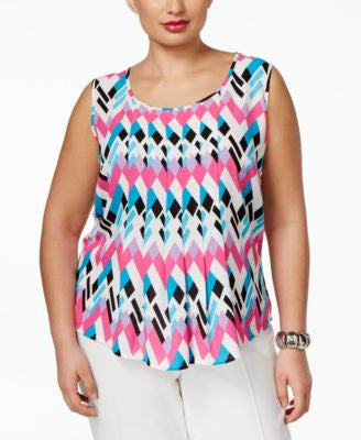 Nine West Plus Size Geometric-Print Pleated Top