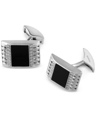 Gento by EFFY Onyx (12mm x 9mm) and Diamond (2/5 ct. t.w.) Cuff Links in Sterling Silver