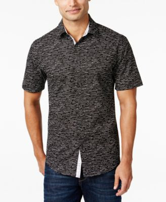 Alfani Men's Big & Tall Slim Contrast-Trim Dash-Print Short-Sleeve Shirt, Only at Vogily