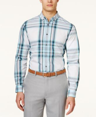 Alfani Big and Tall Meyrin Plaid Long-Sleeve Shirt, Only at Vogily