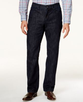 Alfani Straight-Leg Dark Blue Wash Jeans, Only at Vogily