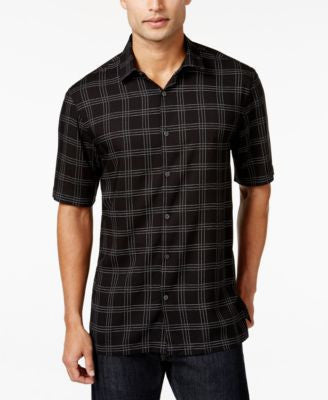 Alfani Men's Grid Print Short-Sleeve Shirt