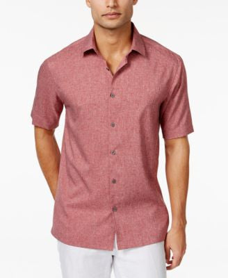 Alfani Men's Big and Tall Short-Sleeve Two-Tone Solid Shirt, Only at Vogily