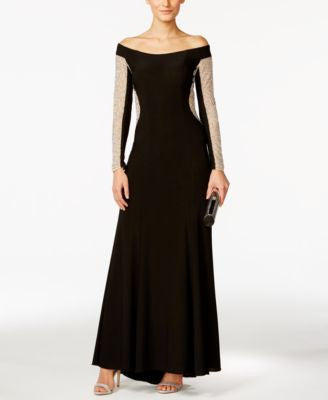 Xscape Off-The-Shoulder Beaded Illusion Gown