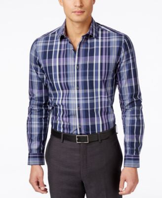 Alfani Men's Big and Tall Slim Locker Plaid Long-Sleeve Shirt, Only at Vogily