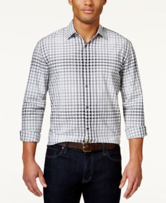 Alfani Big and Tall Men's Plaid slim Long-Sleeve Shirt, Only at Vogily