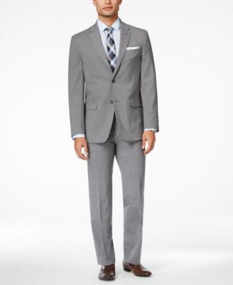 Tommy Hilfiger Men's Light Grey Sharkskin Slim-Fit Stretch Performance Suit