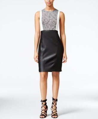 RACHEL Rachel Roy Colorblocked Mixed-Media Sheath Dress