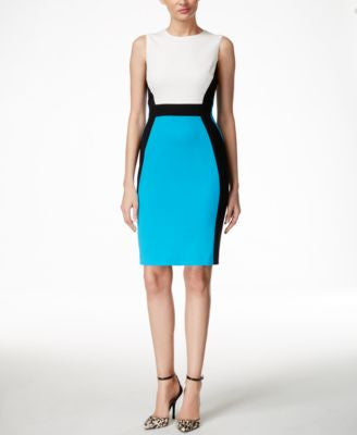 Nine West Crepe Sleeveless Colorblocked Sheath Dress