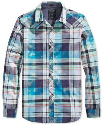 GUESS Men's Sonic Tie-Dye Plaid Long-Sleeve Shirt