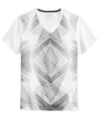 GUESS Men's Irregular Lines Graphic-Print V-Neck T-Shirt