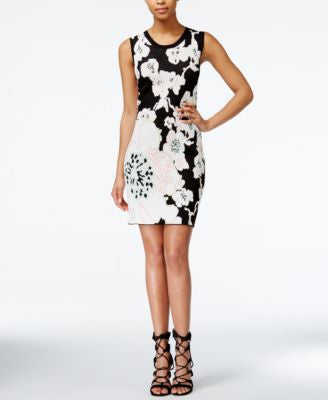 RACHEL Rachel Roy Sleeveless Floral-Print Sweater Dress