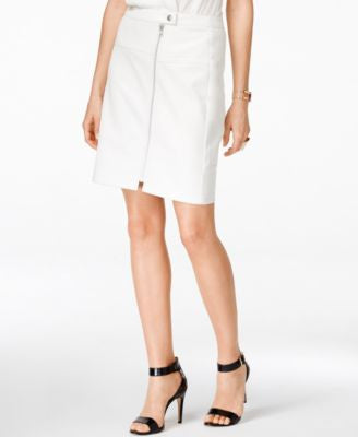 INC International Concepts Zip-Front Faux-Leather Skirt, Only at Vogily