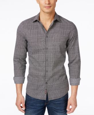 Michael Kors Men's Glen Slim-Fit Plaid Long-Sleeve Shirt