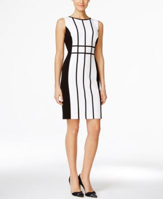 Calvin Klein Petite Colorblocked Piped Sheath