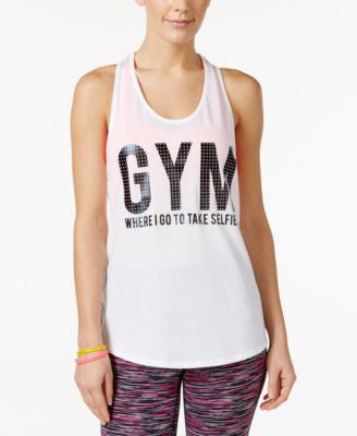 Material Girl Active Juniors' Racerback Graphic Tank Top, Only at Vogily