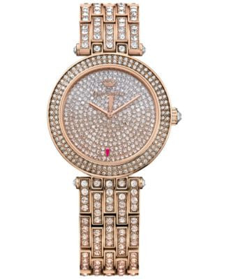 Juicy Couture Women's Cali Crystal Accent Rose Gold-Tone Stainless Steel Bracelet Watch 34mm 1901377