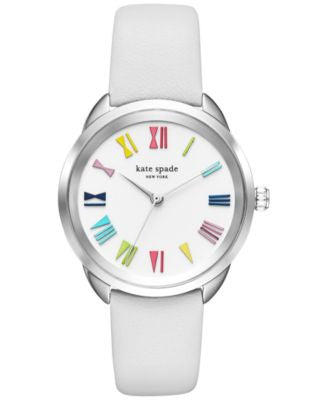 kate spade new york Women's Crosstown White Leather Strap Watch 34mm KSW1092
