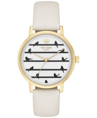 kate spade new york Women's Metro White Leather Strap Watch 34mm KSW1043