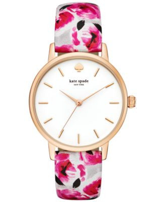 kate spade new york Women's Metro Multicolor Printed Leather Strap Watch 34mm KSW1053